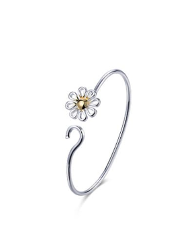 Simple Hollow Flower Opening Bangle