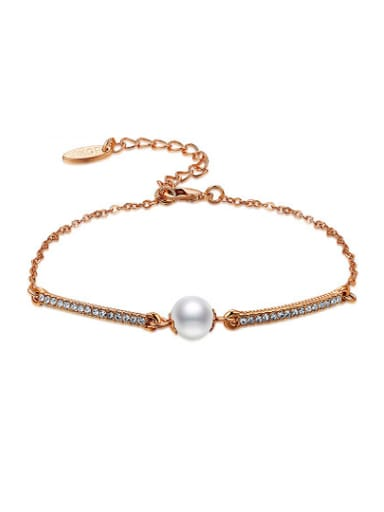 Fashion Rose Gold Plated Artificial Pearl Bracelet