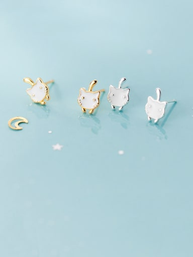 925 Sterling Silver With Enamel  Cute Cat Stud Earrings