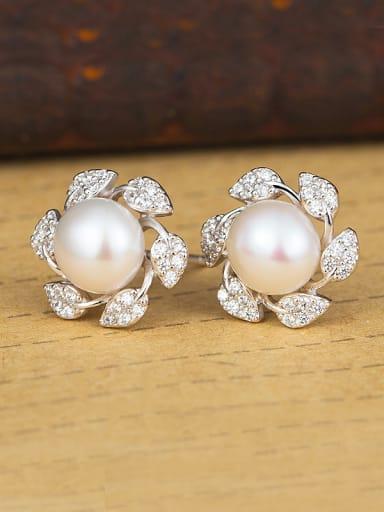 Flower Freshwater Pearl Cluster earring