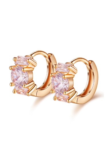 Fashion White Zircon Champagne Gold Plated Earrings