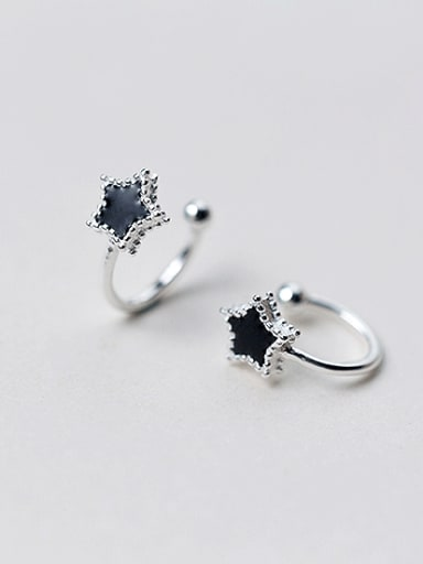 Fashionable Black Star Shaped S925 Silver Glue Clip On Earrings
