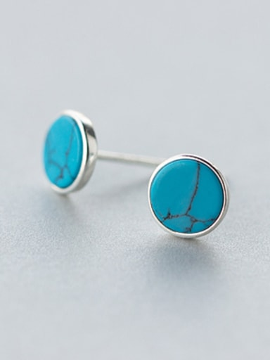 S925 silver retro synthesis round turquoise stud Earring