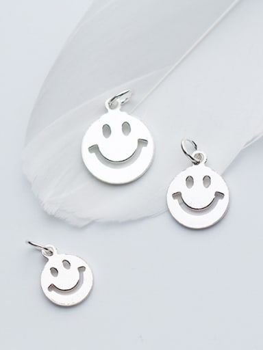 925 Sterling Silver With Silver Plated Cute Face smile Charms
