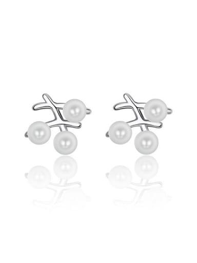 Simple White Imitation Pearls Copper Stud Earrings