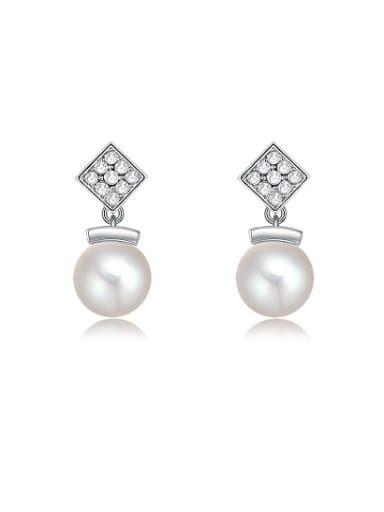 Exquisite Square Shaped Artificial Pearl Drop Earrings