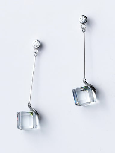 Temperament Square Shaped Crystal S925 Silver Drop Earrings