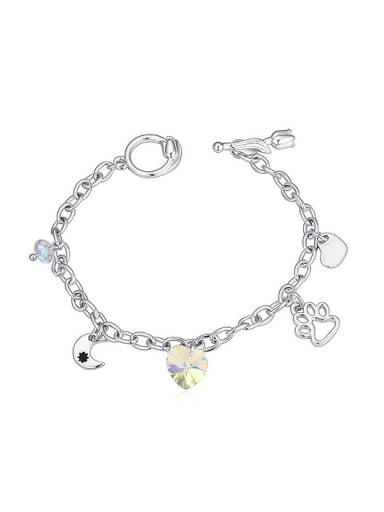 Personalized Footprint Heart Moon Swarovski Crystal Alloy Bracelet