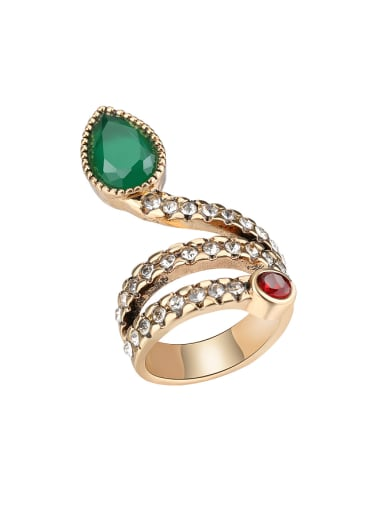 Punk style Green Resin stone White Crystals Alloy Ring