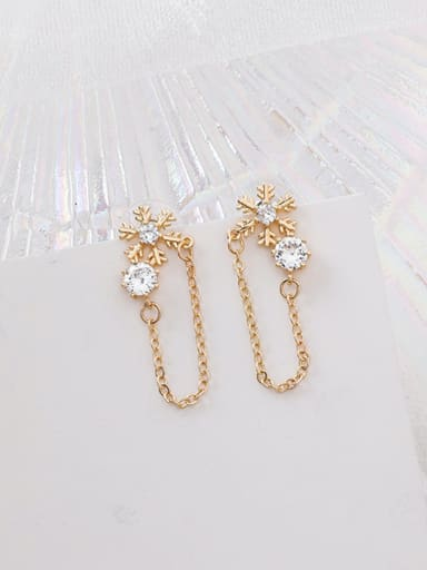 Alloy With Gold Plated Simplistic Snowflake Drop Earrings