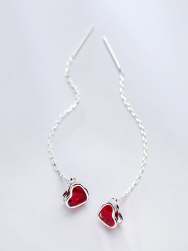 All-match Heart Shaped S925 Silver Crystal Line Earrings