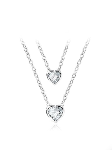 Temperament Heart Shaped Glass Double Chain Necklace