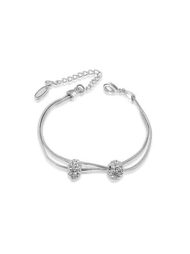 Platinum Plated Double Ball Shaped Crystal Bracelet