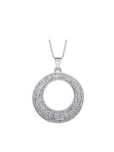 Simple Swarovski Crystals Hollow Round Necklace