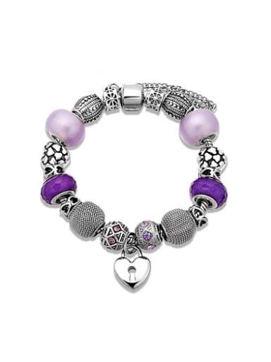 Women Purple Heart Shaped Rhinestone Bracelet