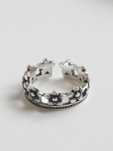 Retro style Little Flowers Silver Opening Ring