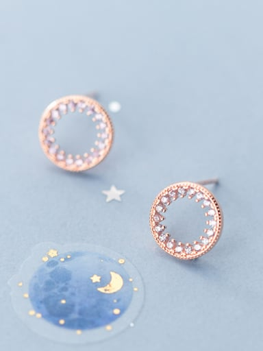 925 Sterling Silver With Rose Gold Plated Fashion Round Stud Earrings