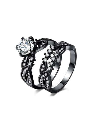 Personality Black Gun Cross Design Copper Ring Set