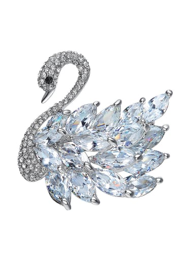 Fashion Elegant Marquise Crystals Swan Brooch