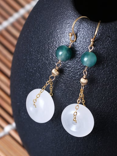 Elegant Jade Retro Style Drop Earrings