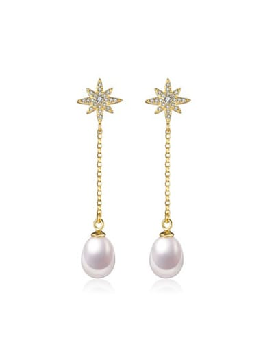 Water Drop shaped Freshwater Pearl Star Drop threader earring
