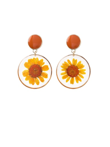 Alloy With Imitation Gold Plated Simplistic Transparent PVC  Dried Flowers  Drop Earrings