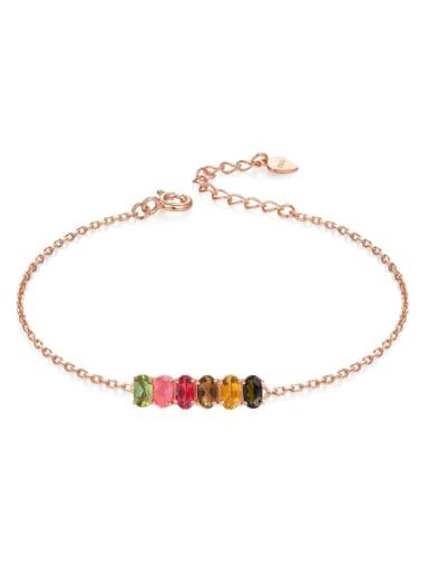 Colorful Natural Egg-shape S925 Silver Bracelet