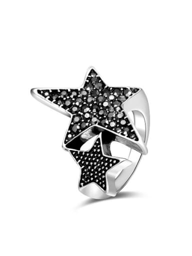 All-match Double Star Shaped Silver Plated Rhinestones Ring