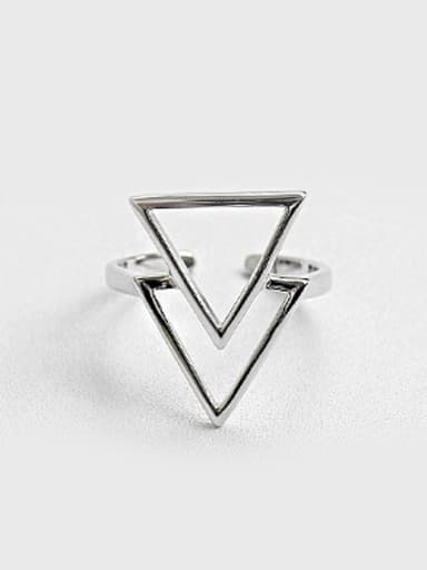 Simple Double Hollow Triangle Silver Opening Ring