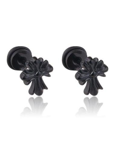 Stainless Steel With Black Gun Plated Trendy Cross Stud Earrings