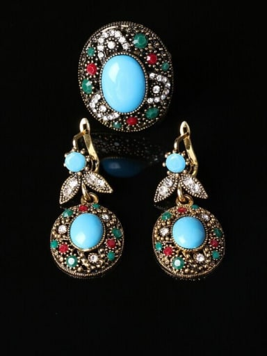 Retro style Blue Resin stone Crystal Alloy Two Pieces Jewelry Set
