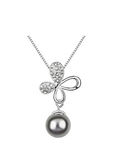 Exquisite Imitation Pearl Shiny Crystals-studded Flowery Alloy Necklace