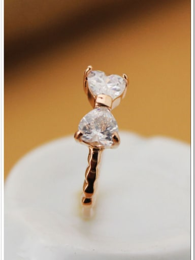 Bow Zircons Rose Gold Plated Ring