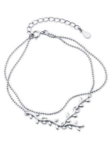 925 Sterling Silver With Platinum Plated Simplistic Leaf Bracelets