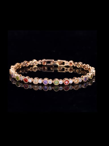 Copper inlaid AAA zircon colored blazed Bracelet