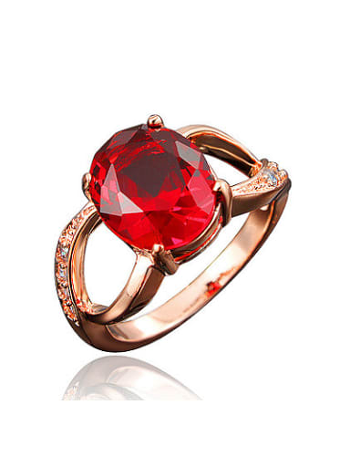 Exquisite Red 18K Rose Gold Plated Zircon Ring