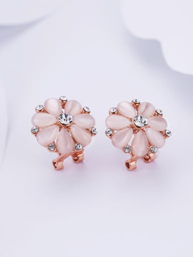 Women Temperament  Rhinestone Flower Shaped clip on earring