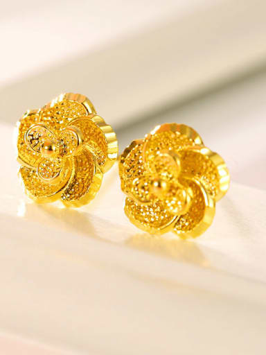 Copper Alloy 23K Gold Plated Classical Flower stud Earring