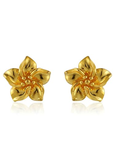 Copper Alloy 24K Gold Plated Classical Flower Wedding stud Earring