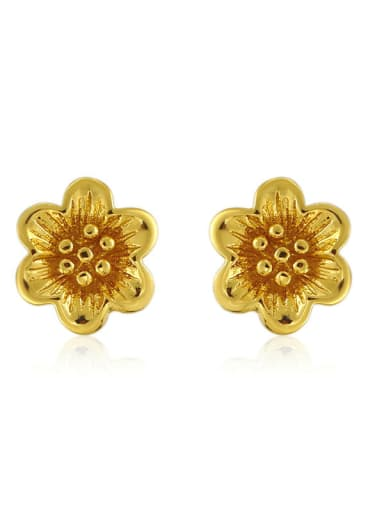 Copper Alloy 24K Gold Plated Classical Flower stud Earring