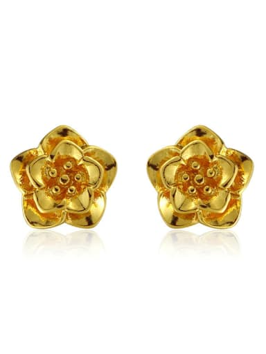 Copper Alloy 24K Gold Plated Wedding Flower stud Earring