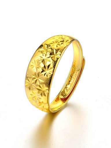 Copper Alloy 24K Gold Plated Vintage Flower opening Ring