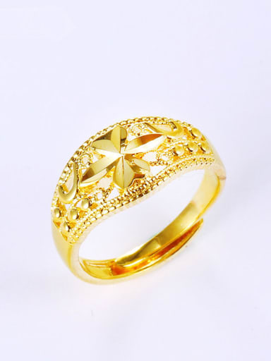 24K gold plated wedding geometric ring