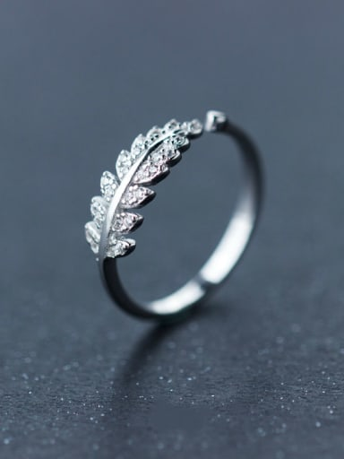 S925 Silver Leaves Opening Ring With CZ