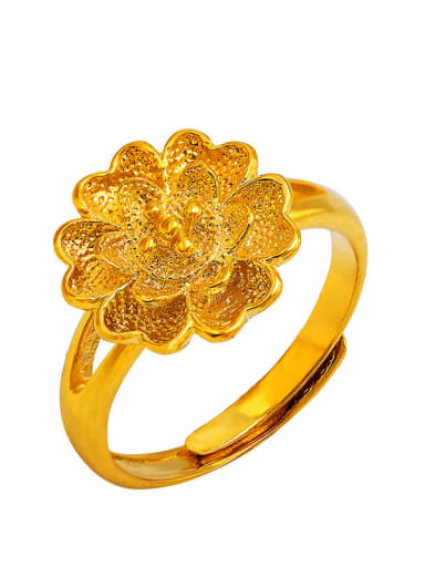 Copper Alloy 24K Gold Plated Classical Flower Statement Ring