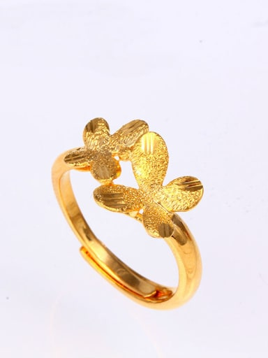 Copper Alloy 24K Gold Plated Classical Butterfly Women Ring