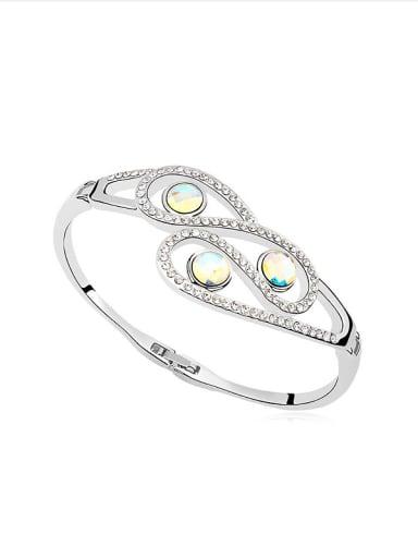 Fashion Shiny Swarovski Crystals Platinum Plated Alloy Bangle