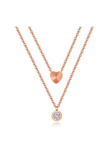 Simple Two-layer Heart Zircon Titanium Necklace