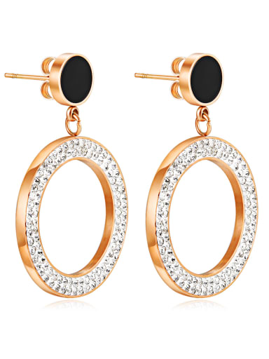 Stainless Steel With Rose Gold Plated Trendy Round Stud Earrings