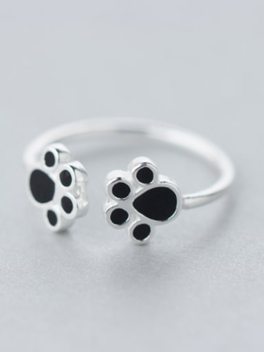 S925 silver fashion cute black cat claw opening ring